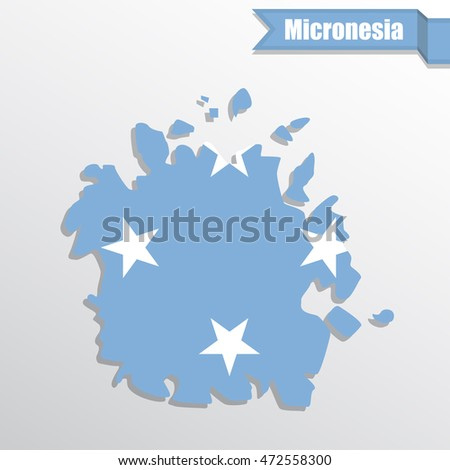 Micronesia map with flag inside and ribbon
