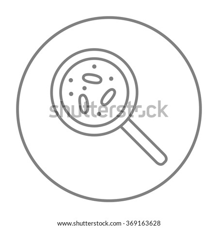 Microorganisms under magnifier line icon. - stock vector