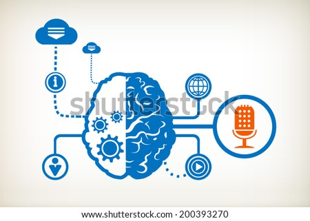 Microphone and abstract human brain, the concept of the information movement - stock vector
