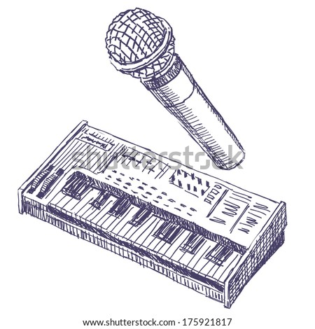 Microphone and synthesizer sketch drawing on white background