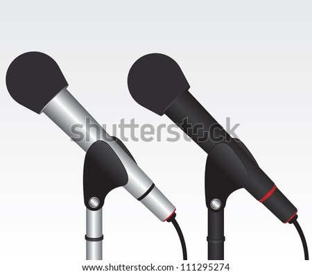 Microphone black and silver illustration - stock vector