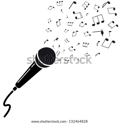 Microphone black silhouette with notes. A vector illustration isolated on white background - stock vector