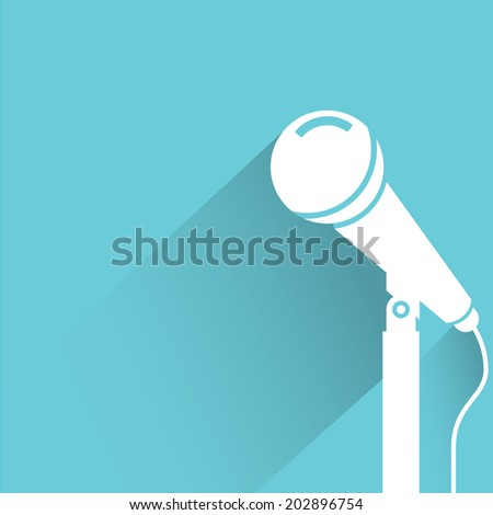 microphone, blue shadow and flat theme - stock vector