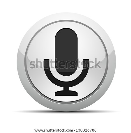 Microphone button - stock vector