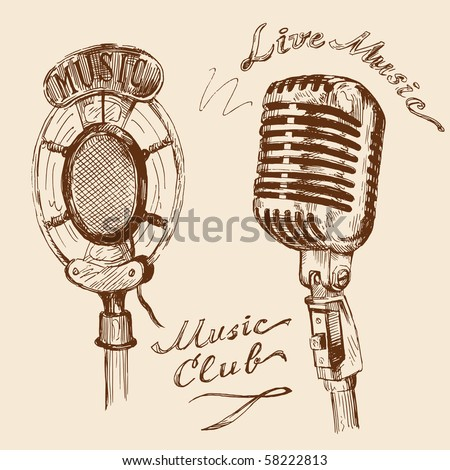 microphone doodles - stock vector