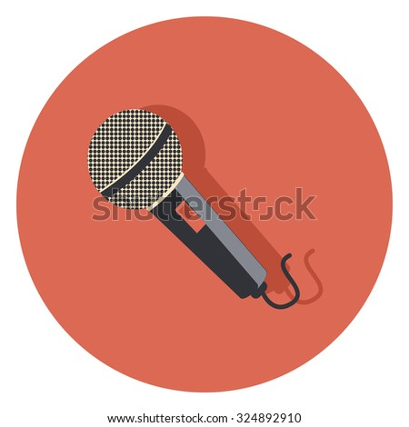 microphone flat icon in circle - stock vector