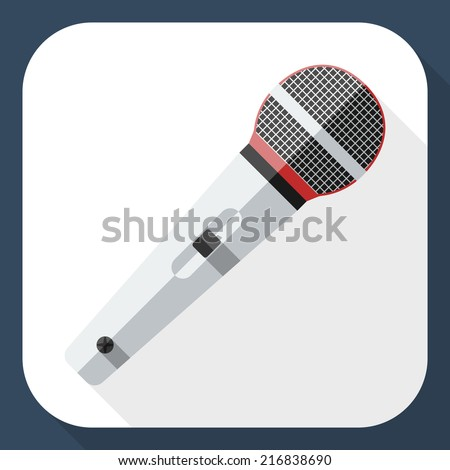 Microphone flat icon with long shadow