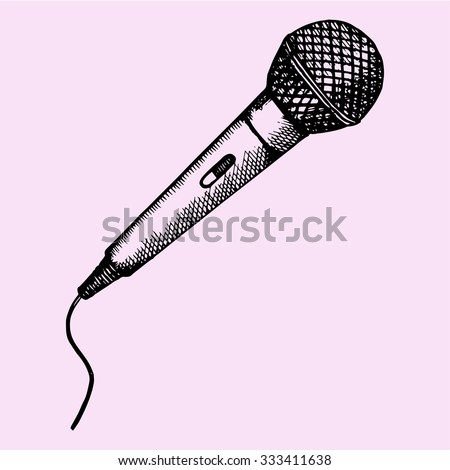 Microphone for Karaoke, doodle style, sketch illustration, hand drawn, vector - stock vector