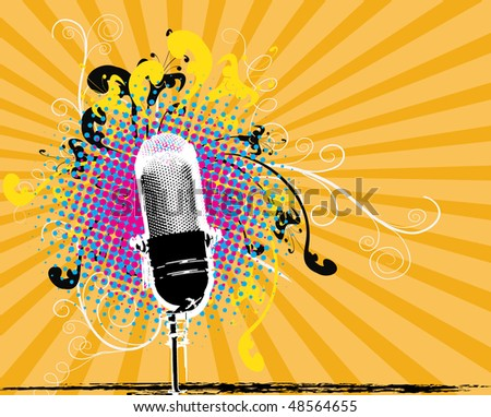 Microphone Grunge Background - stock vector
