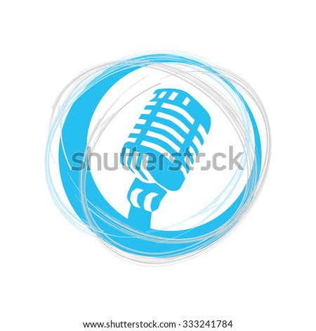 Microphone icon in the  creative circle. Speaker symbol. Live music sign. Vector illustration. Flat icon design style.  - stock vector