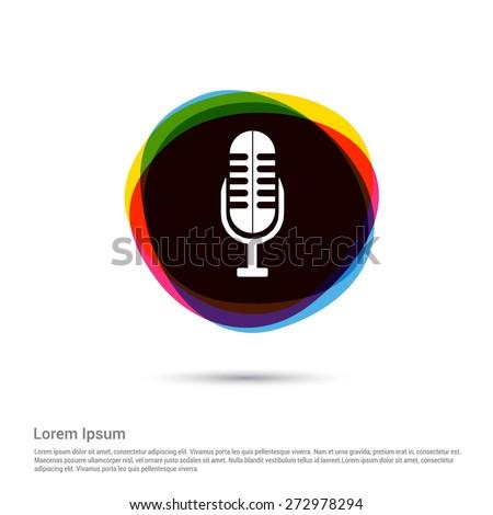 Microphone Icon, White pictogram icon creative circle Multicolor background. Vector illustration. Flat icon design style - stock vector