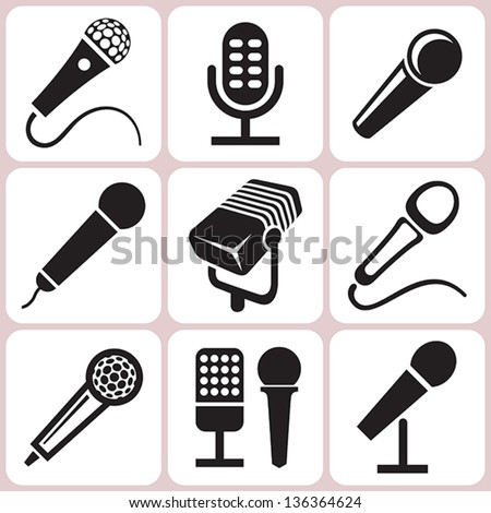 microphone icons set - stock vector