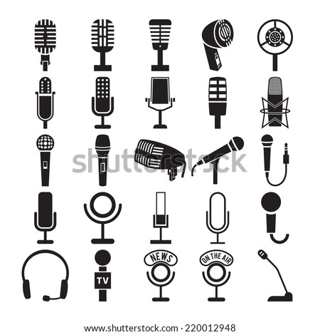 Microphone icons set. Vector illustration - stock vector
