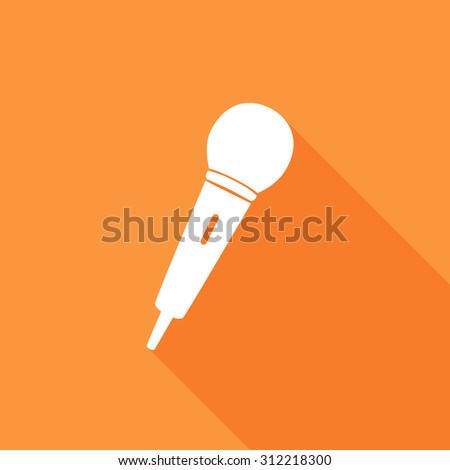 Microphone icons set. Vector Illustration eps10. Flat icon with long shadow.  - stock vector