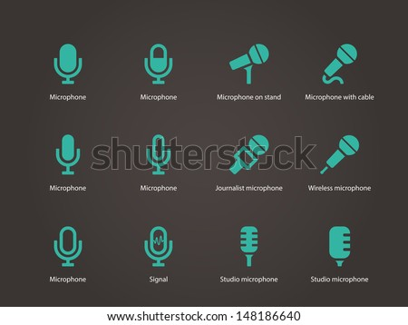 Microphone icons. Vector illustration. - stock vector