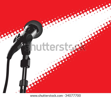 Microphone In Spotlight (vector). In the gallery also available XXL jpeg image made from this vector - stock vector