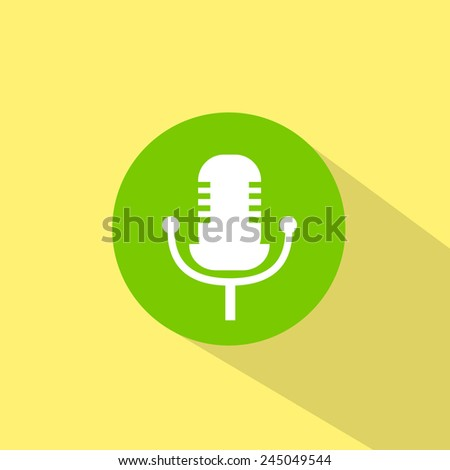 microphone music sound icon flat design vector illustration - stock vector