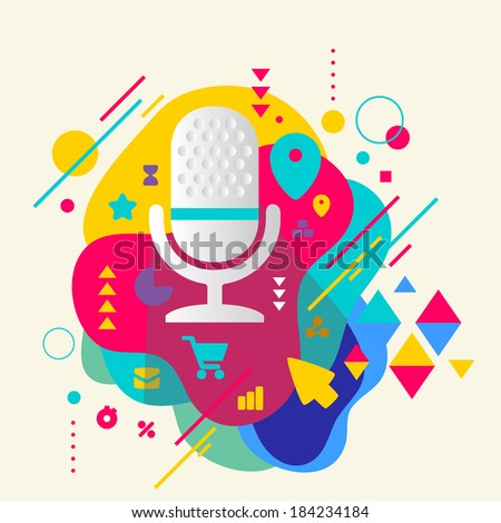 Microphone on abstract colorful spotted background with different elements. Flat design. - stock vector