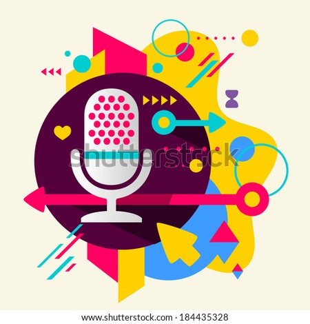 Microphone on abstract colorful spotted background with different elements. Flat design  - stock vector