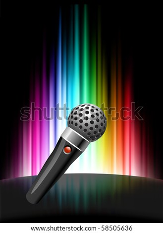 Microphone on Abstract Spectrum Background  Original Illustration - stock vector