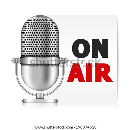 Microphone on air banner, vector eps10 illustration - stock vector