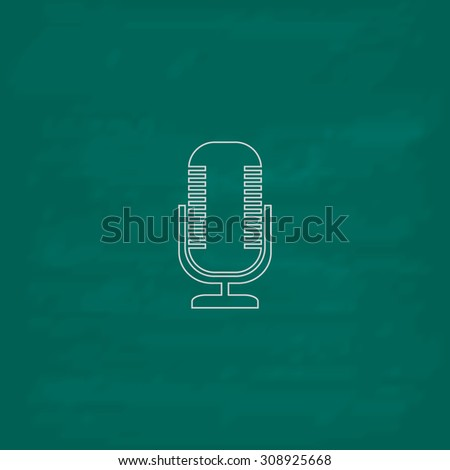 Microphone. Outline vector icon. Imitation draw with white chalk on green chalkboard. Flat Pictogram and School board background. Illustration symbol