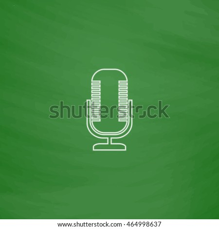 Microphone Outline vector icon. Imitation draw with white chalk on green chalkboard. Flat Pictogram and School board background. Illustration symbol
