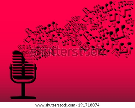 Microphone radio notes wave record  abstract - stock vector