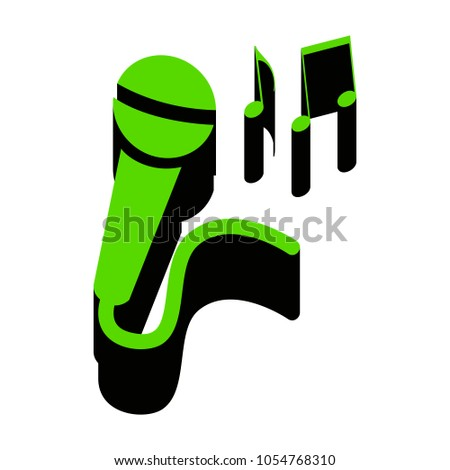 microphone sign music notes vector green stock vector 1054768310 rh shutterstock com Music Note Icon Music Notes Graphics