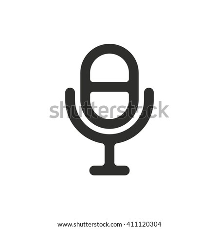 Microphone vector icon. Black illustration isolated on white  background for graphic and web design. - stock vector