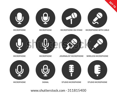 Microphone vector icons set. Sound, speech and media concept. Journalist's equipment, different microphones, signal, studio microphone. Isolated on white background - stock vector