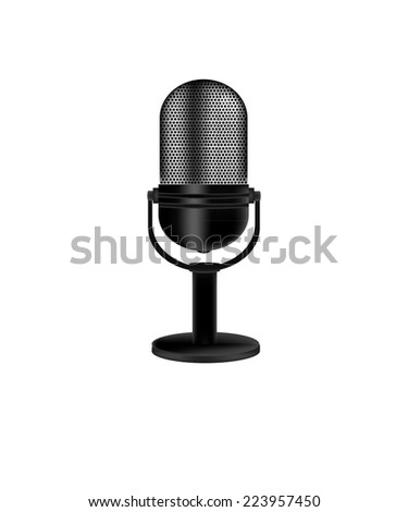 Microphone,  vintage microphone,  old microphone,  retro microphone isolate - stock vector