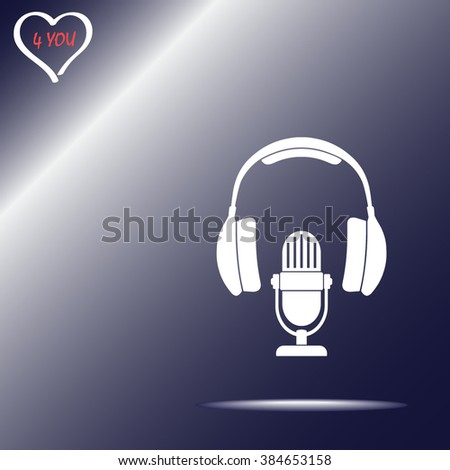 Microphone with headphones sign icon, vector illustration. Flat design style