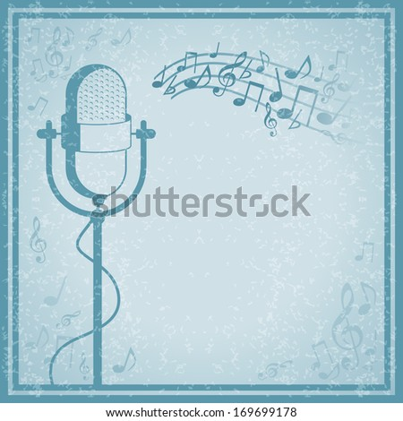 Microphone with music on vintage background vector illustration - stock vector