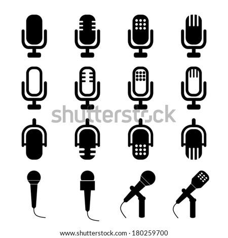 Microphones Signs - stock vector