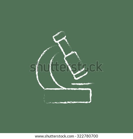 Microscope hand drawn in chalk on a blackboard vector white icon isolated on a green background. - stock vector