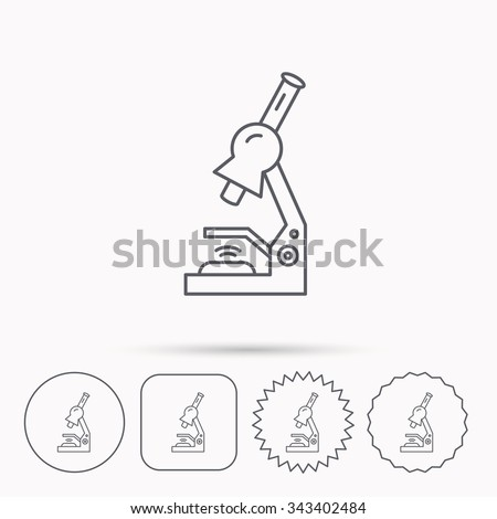Microscope icon. Medical laboratory equipment sign. Pathology or scientific symbol. Linear circle, square and star buttons with icons. - stock vector