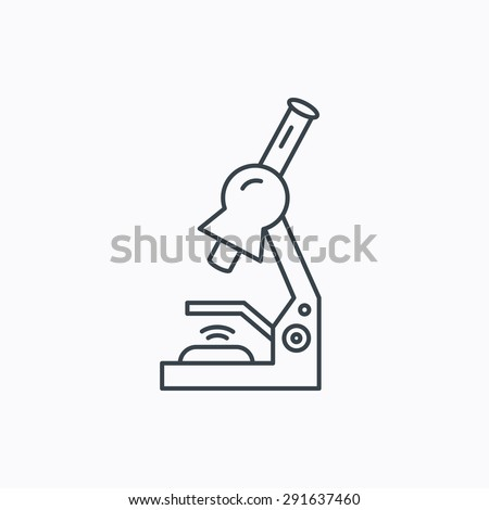 Microscope icon. Medical laboratory equipment sign. Pathology or scientific symbol. Linear outline icon on white background. Vector - stock vector