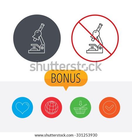 Microscope icon. Medical laboratory equipment sign. Pathology or scientific symbol. Shopping cart, globe, heart and check bonus buttons. Ban or stop prohibition symbol. - stock vector