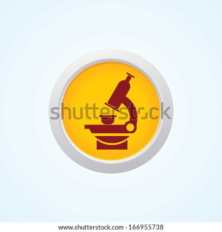 Microscope Icon On Button. - stock vector