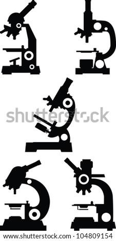 Microscope vector collection - stock vector