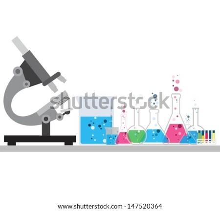 microscope. Vector illustration. - stock vector