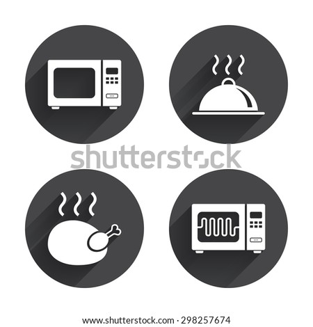 Microwave grill oven icons. Cooking chicken signs. Food platter serving symbol. Circles buttons with long flat shadow. Vector