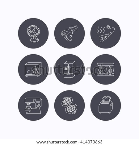 Microwave oven, hair dryer and blender icons. Refrigerator fridge, coffee maker and toaster linear signs. Ventilator, curling iron and waffle-iron icons. Flat icons in circle buttons. Vector