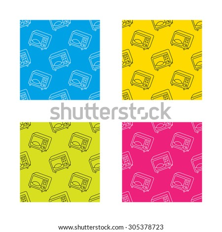 Microwave oven icon. Kitchen appliance sign. Textures with icon. Seamless patterns set. Vector