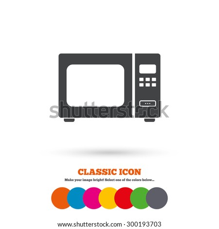 Microwave oven sign icon. Kitchen electric stove symbol. Classic flat icon. Colored circles. Vector