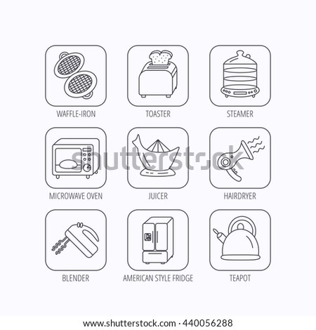 Microwave oven, teapot and blender icons. Refrigerator fridge, juicer and toaster linear signs. Hair dryer, steamer and waffle-iron icons. Flat linear icons in squares on white background. Vector - stock vector