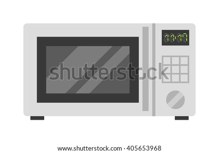 Microwave oven technology appliance equipment modern flat vector illustration. Kitchen domestic prepare hot food electric microwave and electrical cooking microwave. Microwave steel appliance design. - stock vector