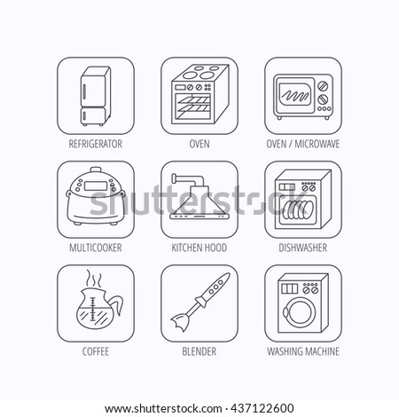 Microwave oven, washing machine and blender icons. Refrigerator fridge, dishwasher and multicooker linear signs. Coffee icon. Flat linear icons in squares on white background. Vector - stock vector