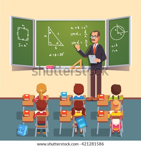 Mid Age Teacher Man Glasses Giving Stock Vector 421281586